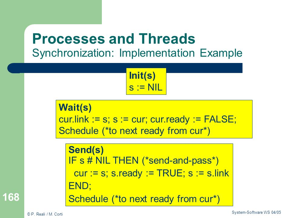 Processes and Threads Synchronization: Implementation Example