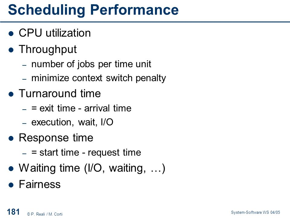 Scheduling Performance