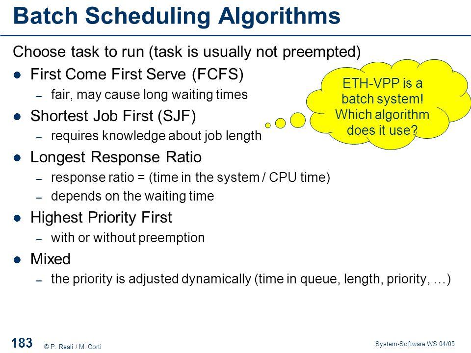Batch Scheduling Algorithms