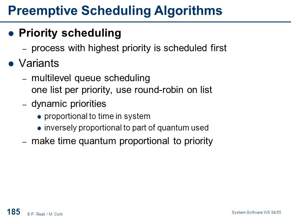 Preemptive Scheduling Algorithms