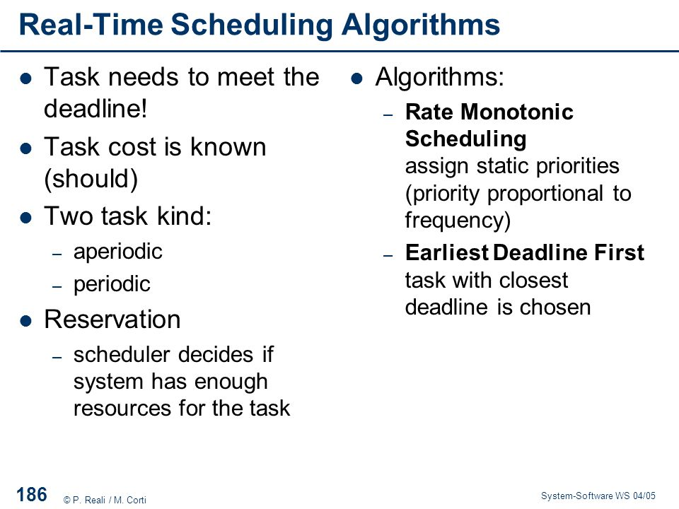 Real-Time Scheduling Algorithms
