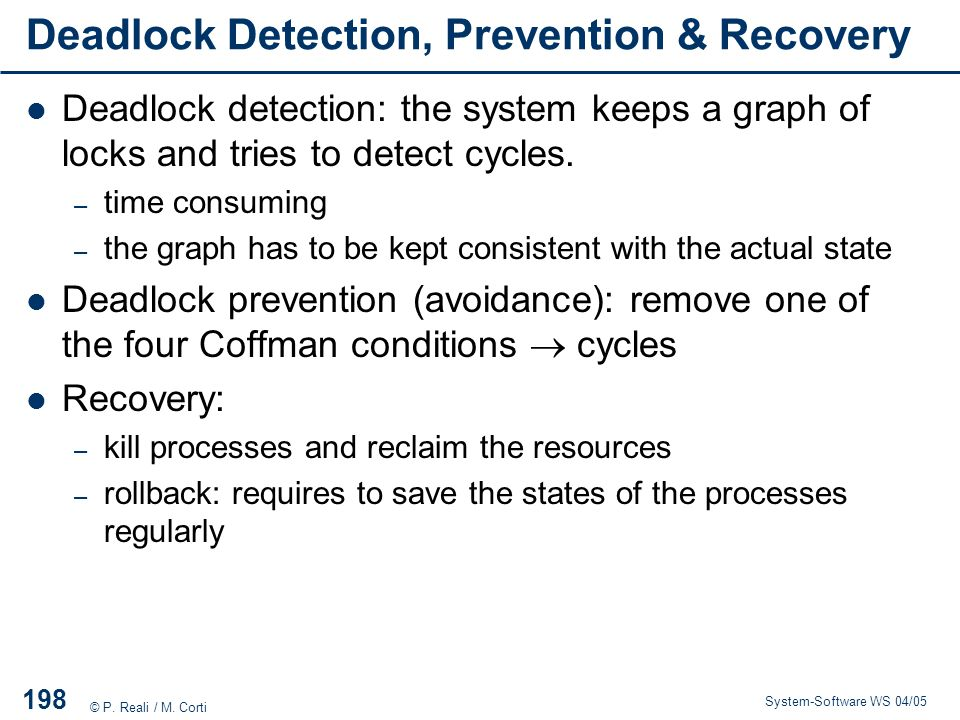 Deadlock Detection, Prevention & Recovery