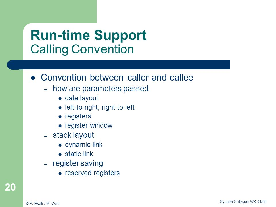Run-time Support Calling Convention