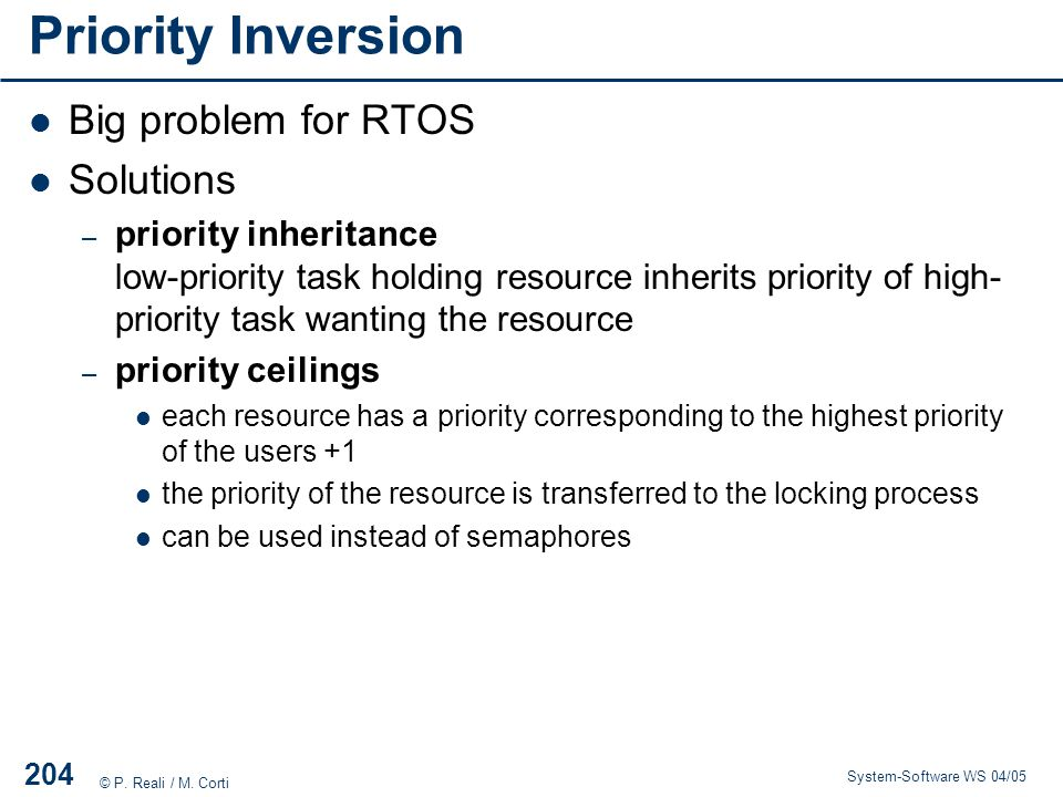 Priority Inversion Big problem for RTOS Solutions