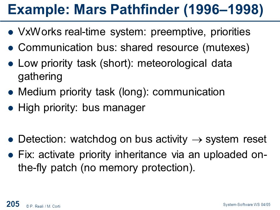 Example: Mars Pathfinder (1996–1998)