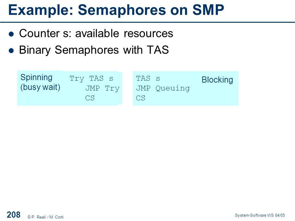Example: Semaphores on SMP