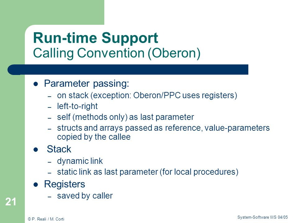 Run-time Support Calling Convention (Oberon)