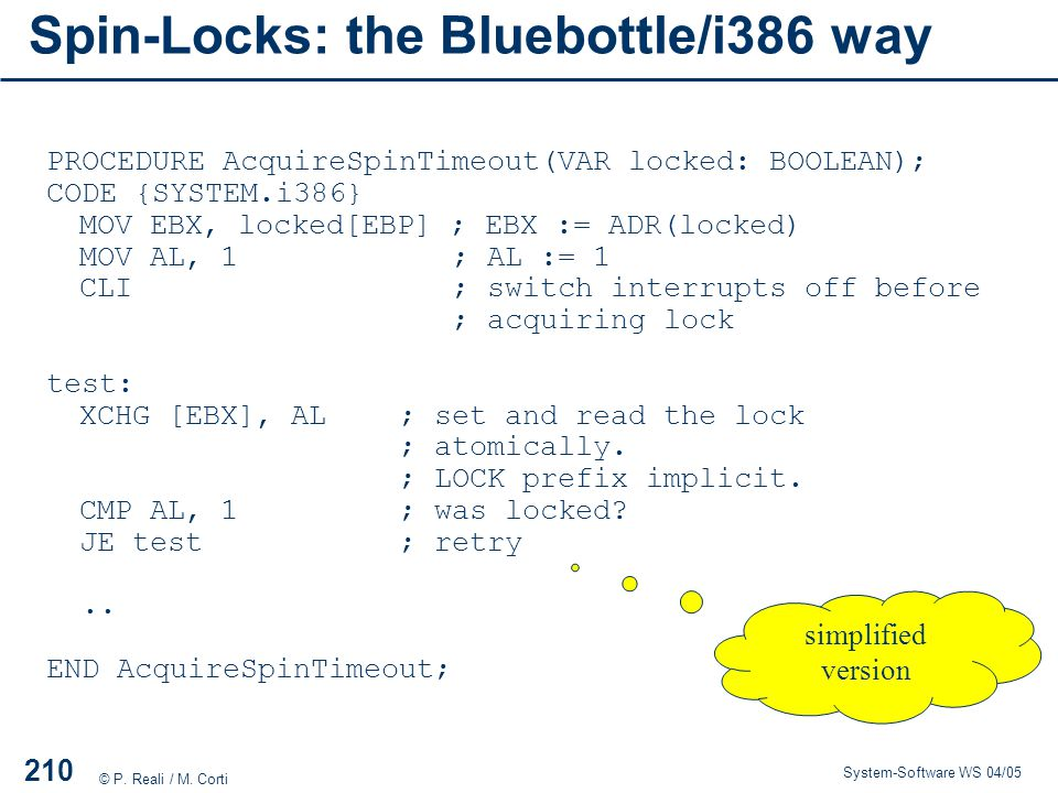 Spin-Locks: the Bluebottle/i386 way