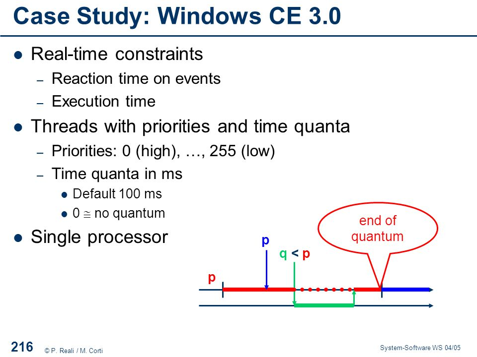 Case Study: Windows CE 3.0 Real-time constraints