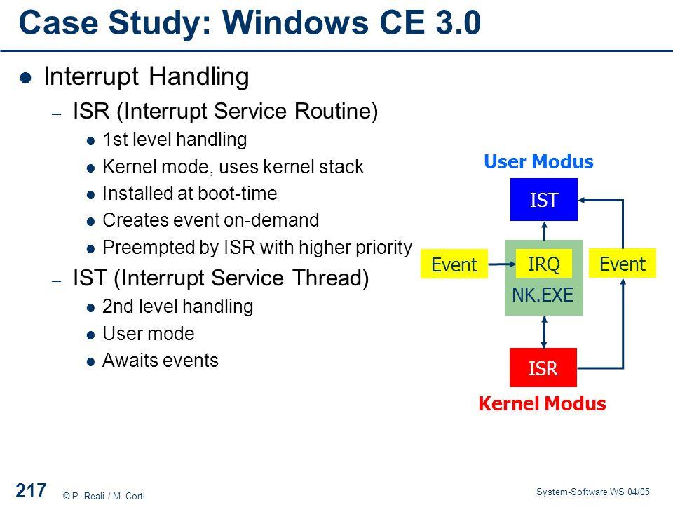 Case Study: Windows CE 3.0 Interrupt Handling