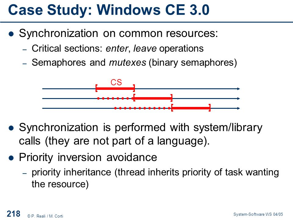 Case Study: Windows CE 3.0 Synchronization on common resources: