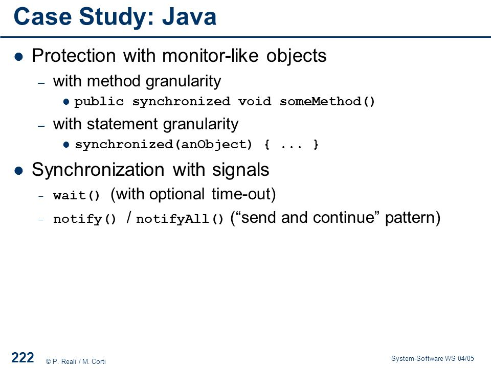 Case Study: Java Protection with monitor-like objects