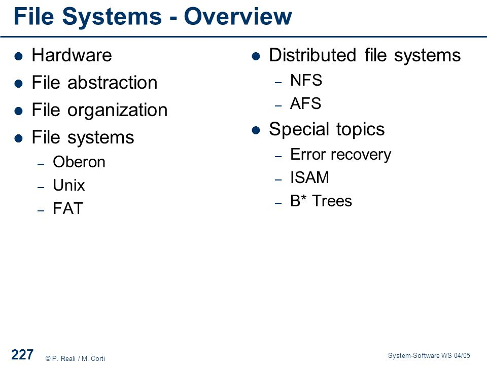 File Systems - Overview