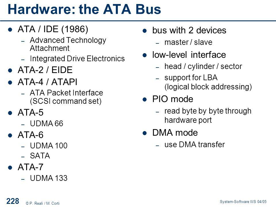 Hardware: the ATA Bus ATA / IDE (1986) ATA-2 / EIDE ATA-4 / ATAPI