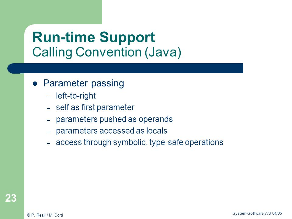 Run-time Support Calling Convention (Java)