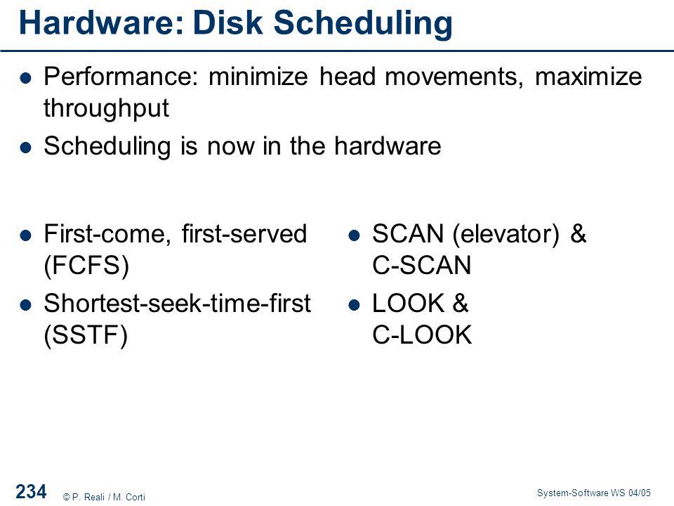 Hardware: Disk Scheduling