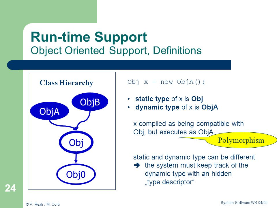 Run-time Support Object Oriented Support, Definitions