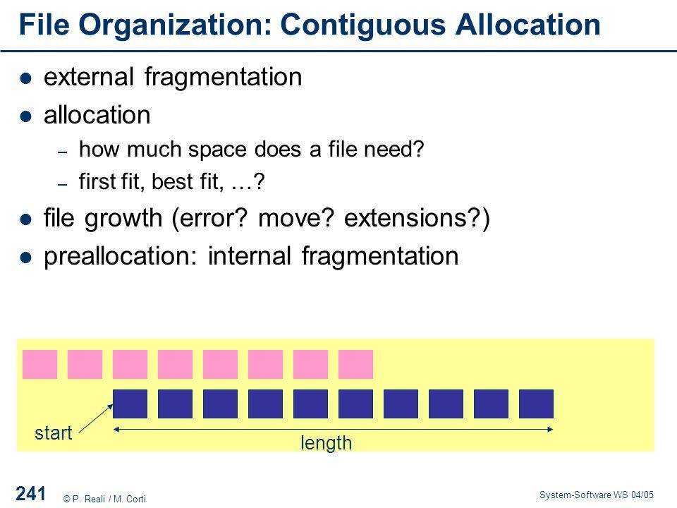 File Organization: Contiguous Allocation