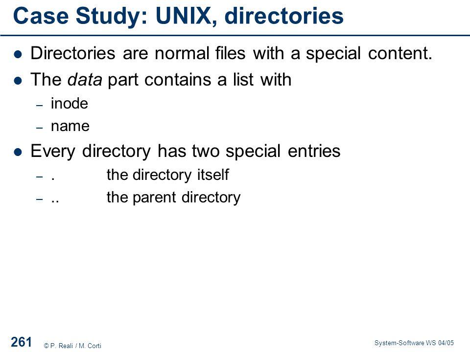 Case Study: UNIX, directories