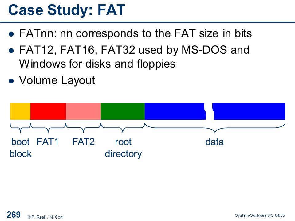 Case Study: FAT FATnn: nn corresponds to the FAT size in bits