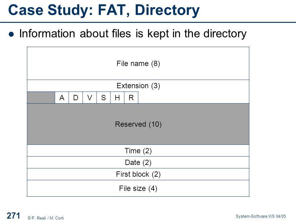Case Study: FAT, Directory