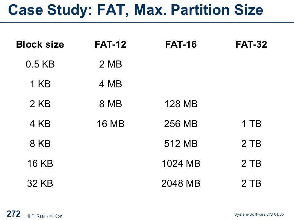 Case Study: FAT, Max. Partition Size