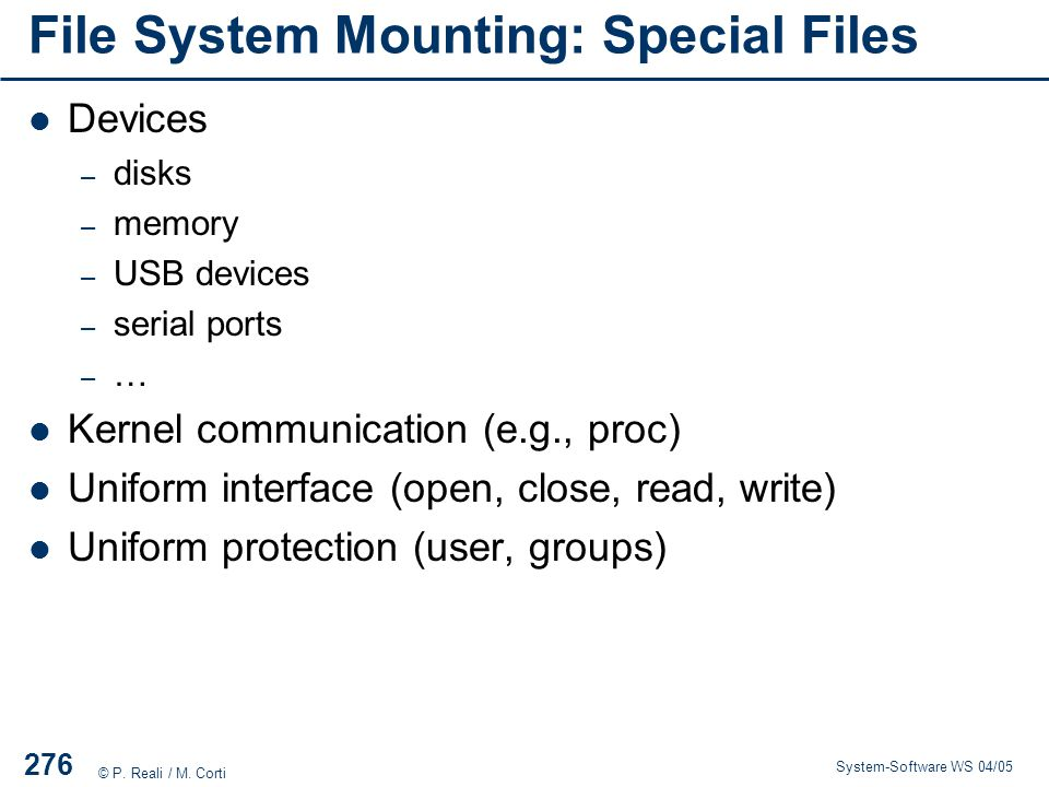 File System Mounting: Special Files
