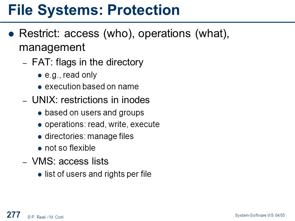 File Systems: Protection