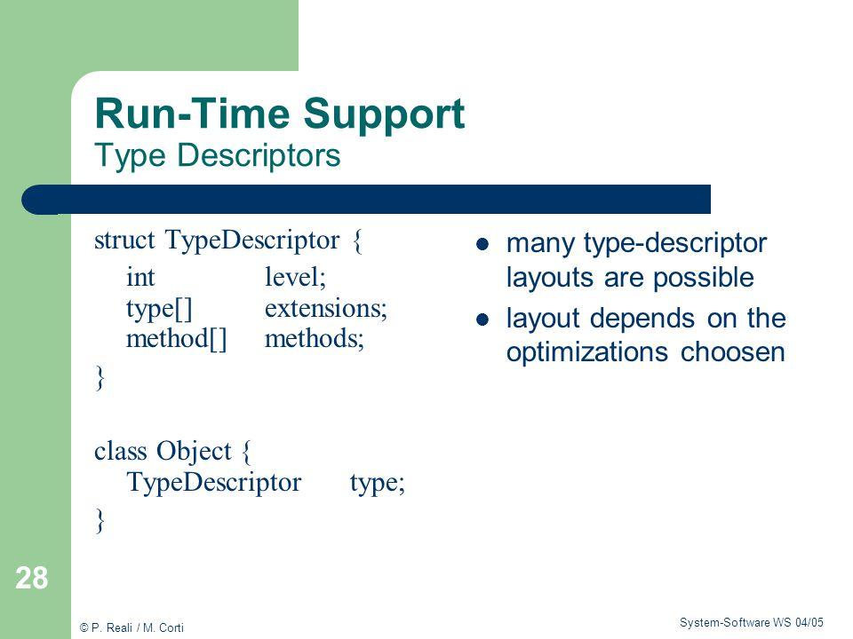 Run-Time Support Type Descriptors