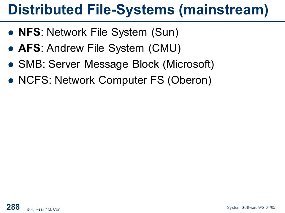 Distributed File-Systems (mainstream)