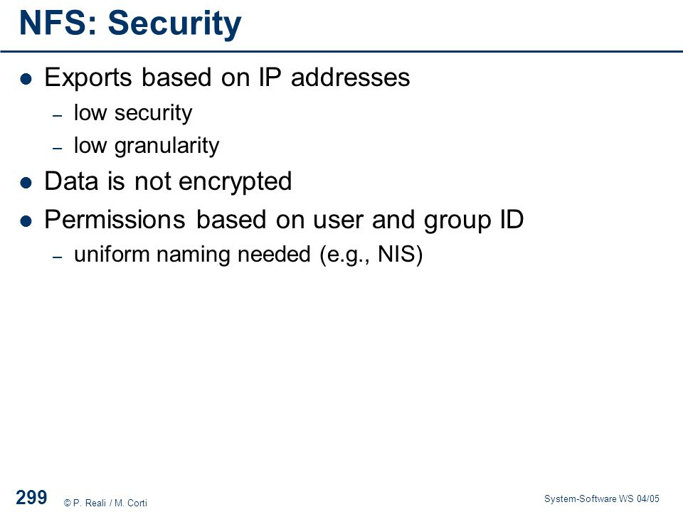 NFS: Security Exports based on IP addresses Data is not encrypted