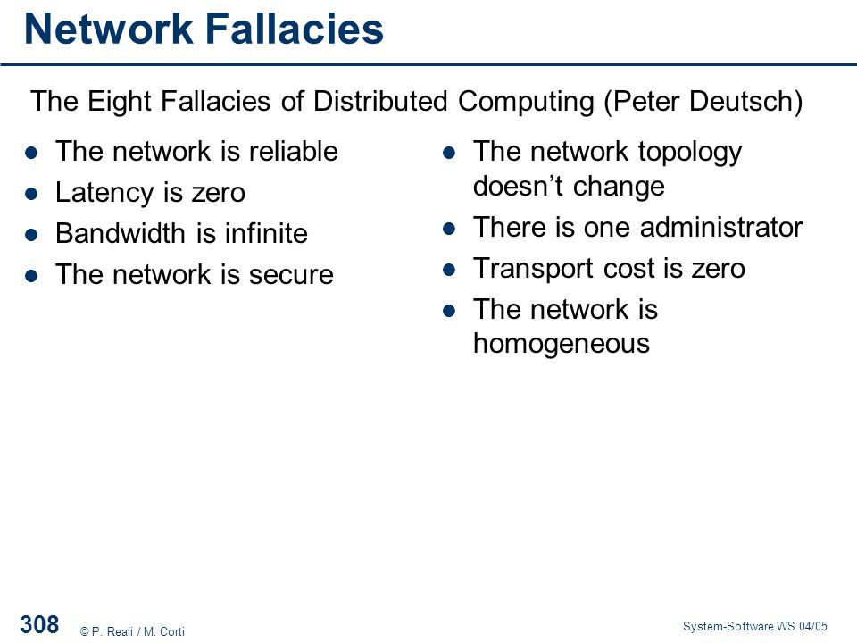 Network Fallacies The Eight Fallacies of Distributed Computing (Peter Deutsch) The network is reliable.
