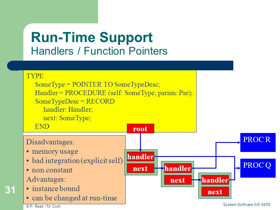 Run-Time Support Handlers / Function Pointers