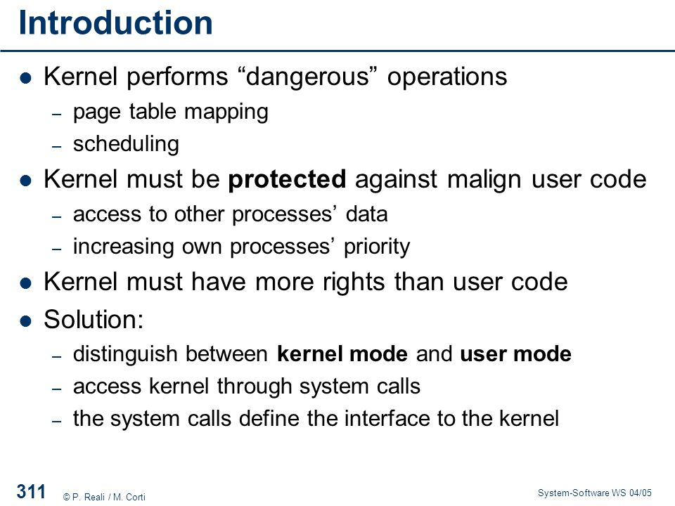 Introduction Kernel performs dangerous operations