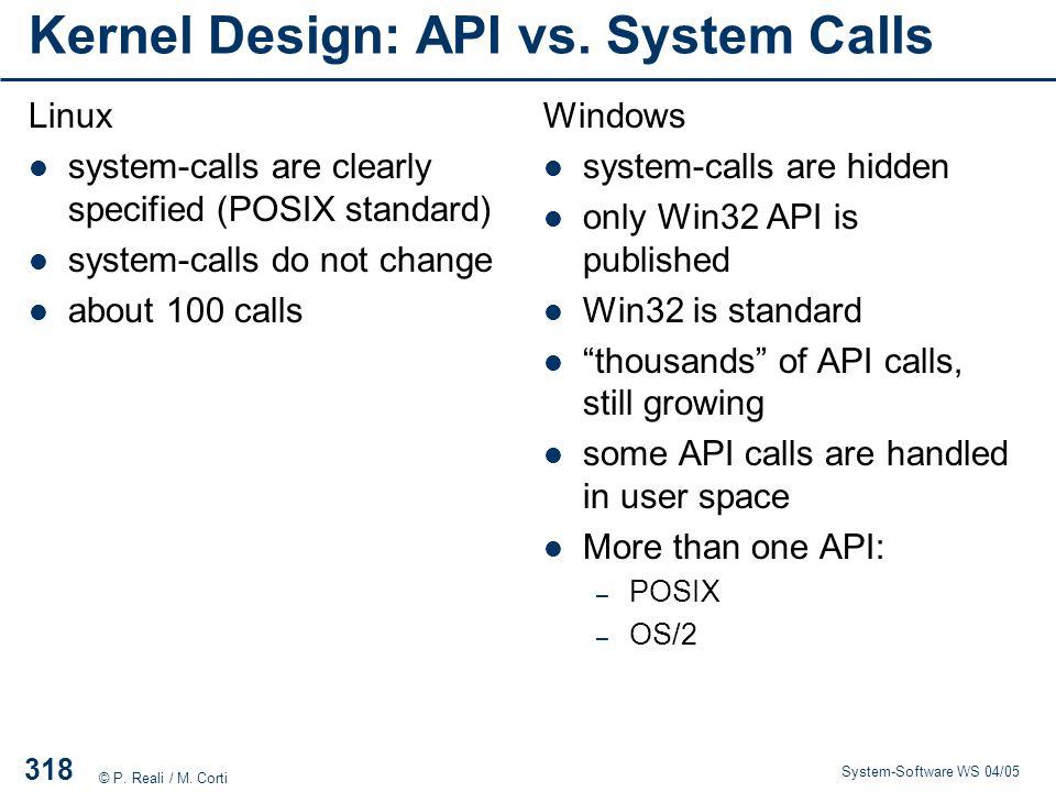 Kernel Design: API vs. System Calls
