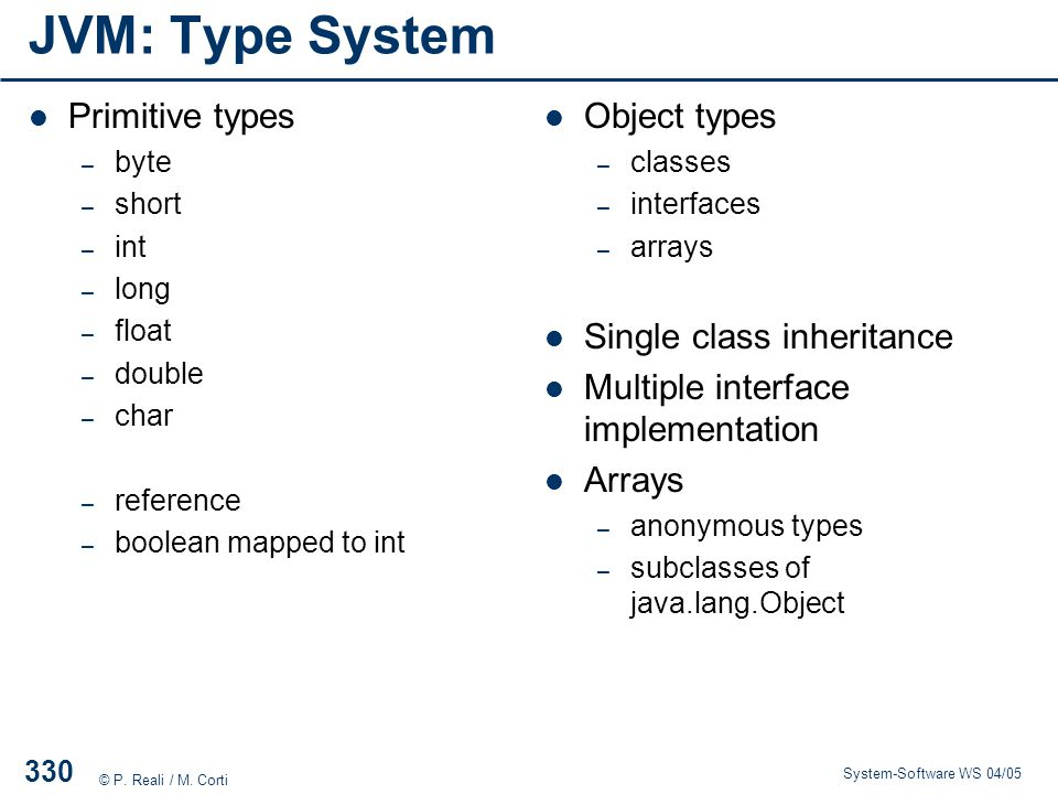 JVM: Type System Primitive types Object types Single class inheritance