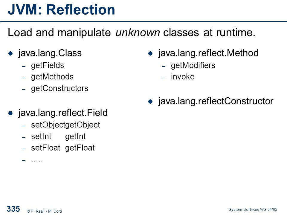 JVM: Reflection Load and manipulate unknown classes at runtime.
