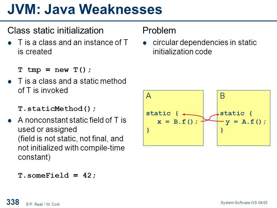 JVM: Java Weaknesses Class static initialization Problem