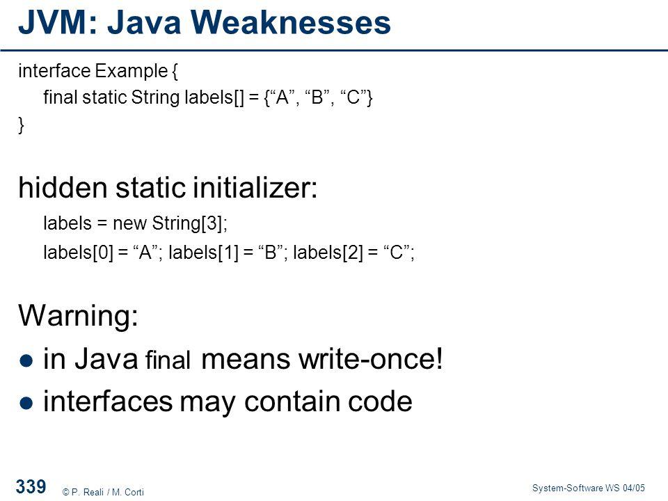 JVM: Java Weaknesses hidden static initializer: Warning: