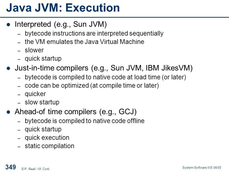 Java JVM: Execution Interpreted (e.g., Sun JVM)
