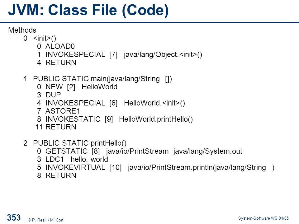 JVM: Class File (Code) Methods 0 <init>() 0 ALOAD0