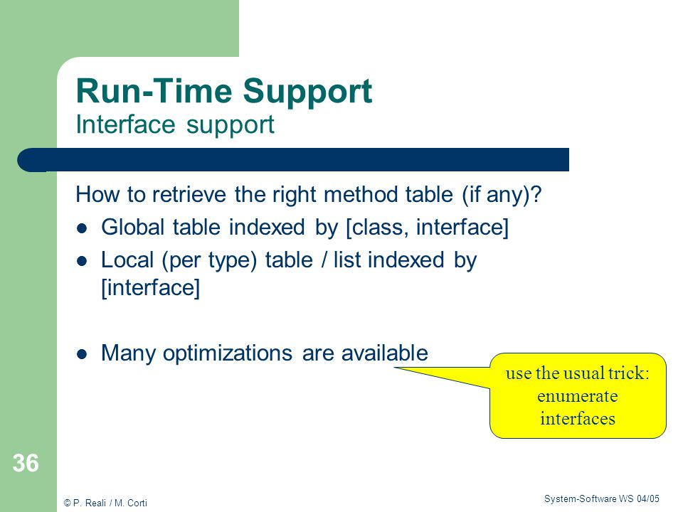 Run-Time Support Interface support