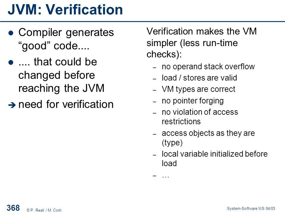JVM: Verification Compiler generates good code....