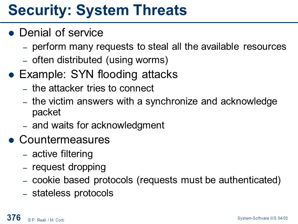 Security: System Threats