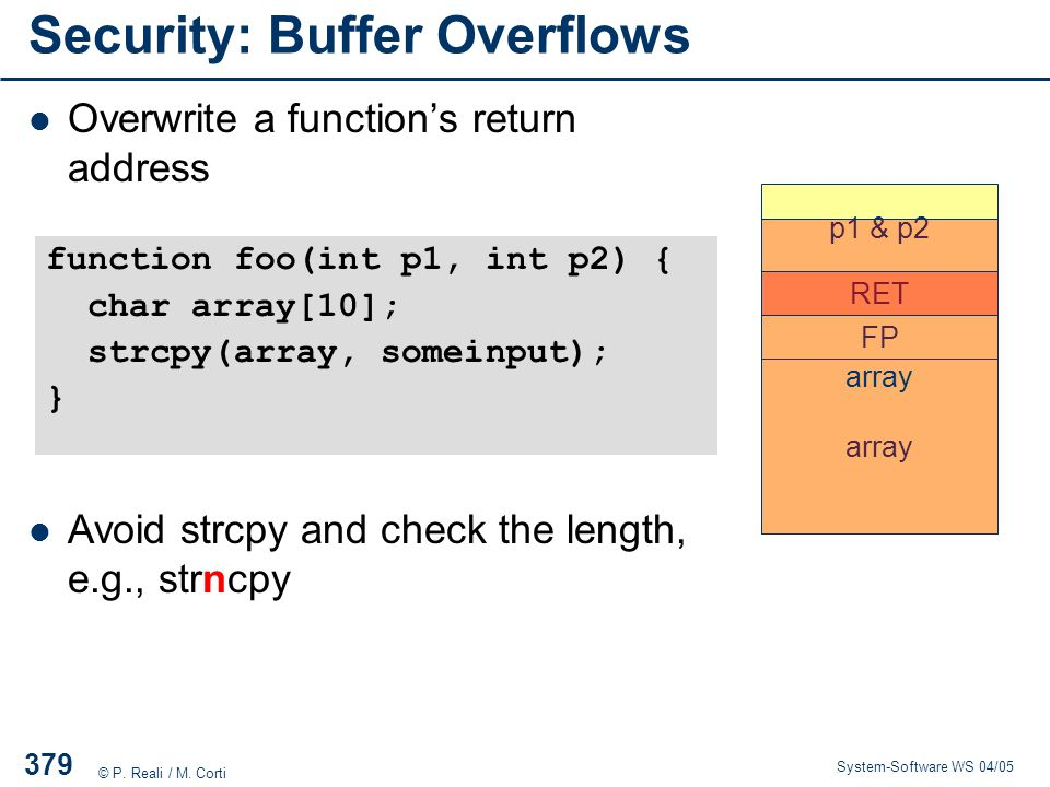 Security: Buffer Overflows