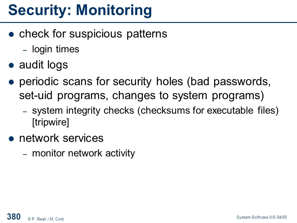 Security: Monitoring check for suspicious patterns audit logs