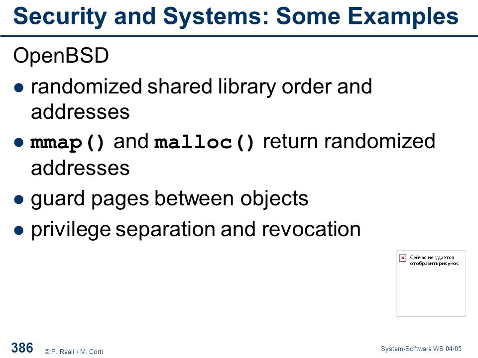 Security and Systems: Some Examples