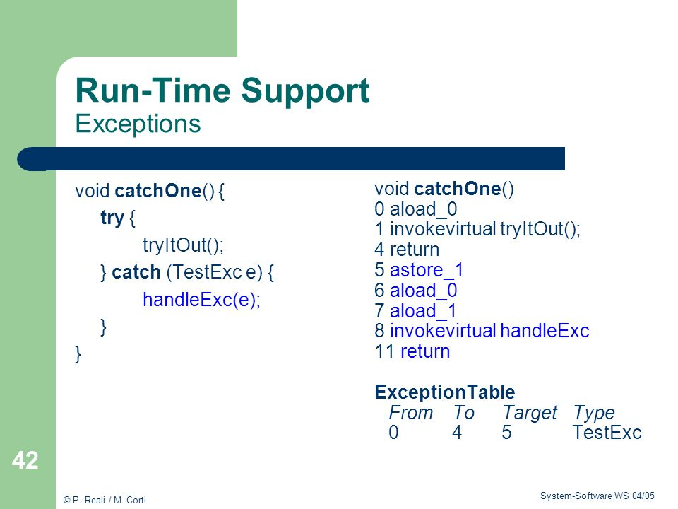 Run-Time Support Exceptions