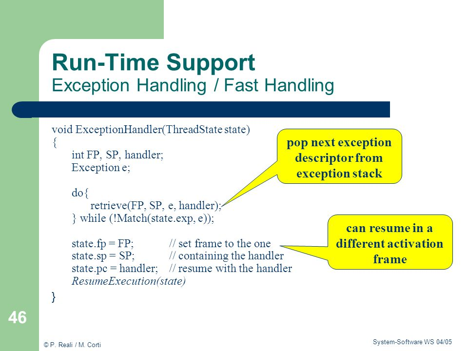 Run-Time Support Exception Handling / Fast Handling