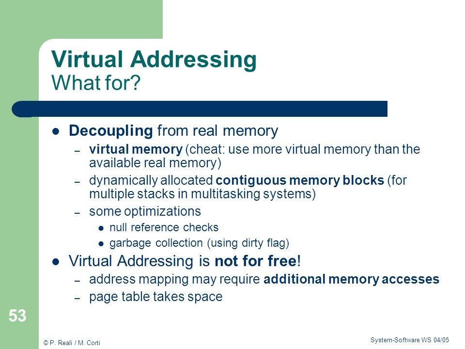 Virtual Addressing What for